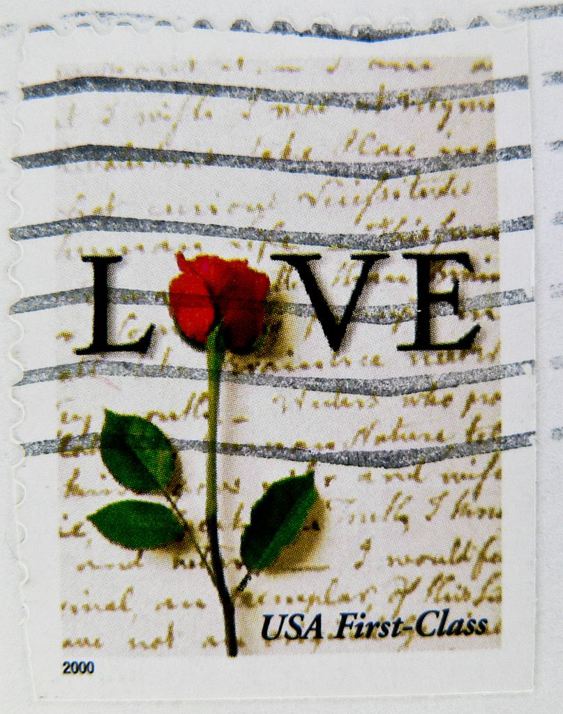 beautiful stamp USA 1st class red rose LOVE u s  postage