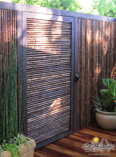 Black Bamboo Fence With Gate Cali Bamboo Fence Design Privacy