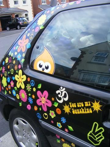Ohm symbol car sticker hippy motors car stickers vinyl decals transfers