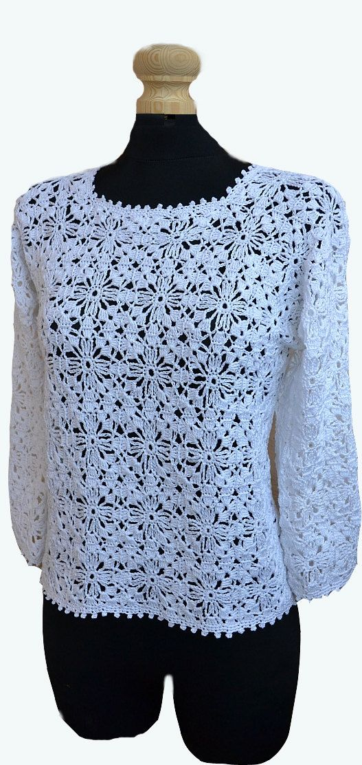 White Crochet sweater, crochet blouse, lace sweater, made to order ...