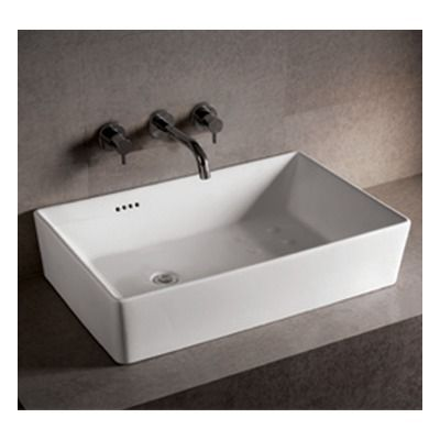 Whitehaus Collection Isabella Rectangular Vessel Sink With Overflow And  Offset Center Drain In White