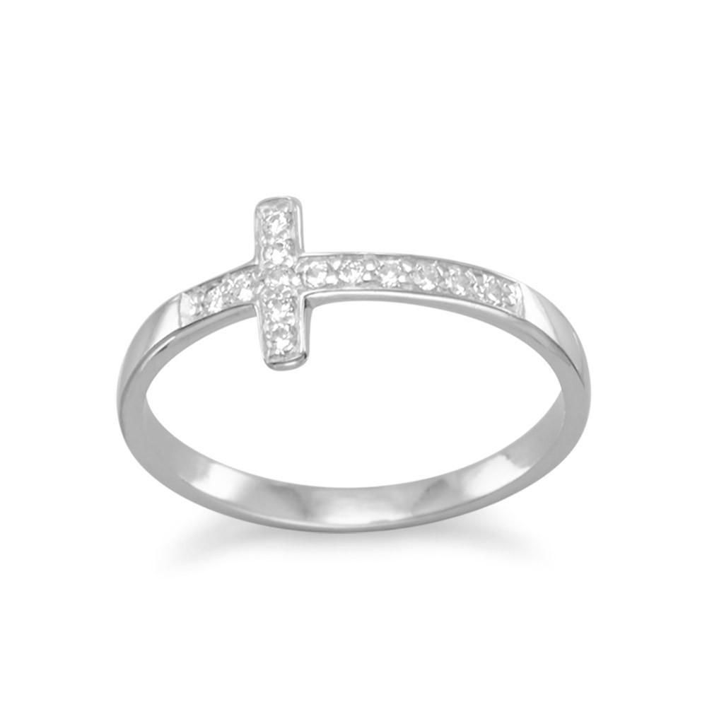 925 Sterling Silver 14K Rose Gold Plated Sideway Cross Ring