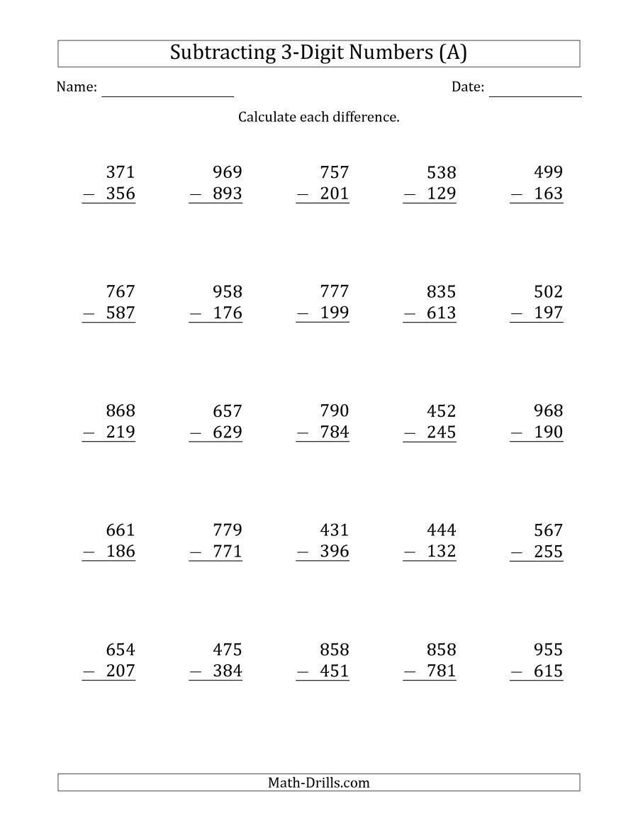 The 3 Digit Minus 3 Digit Subtraction A Math Worksheet From The
