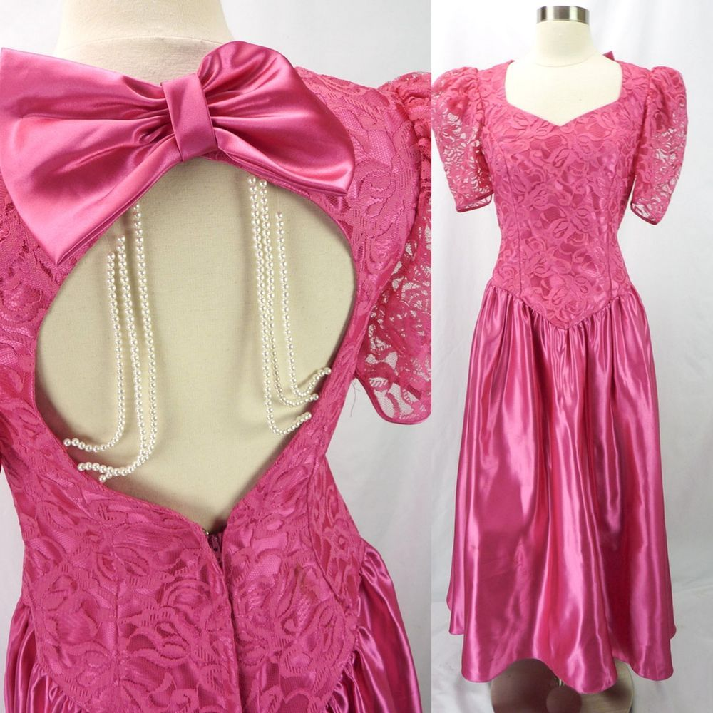 Vintage Bow in Back Prom Dress