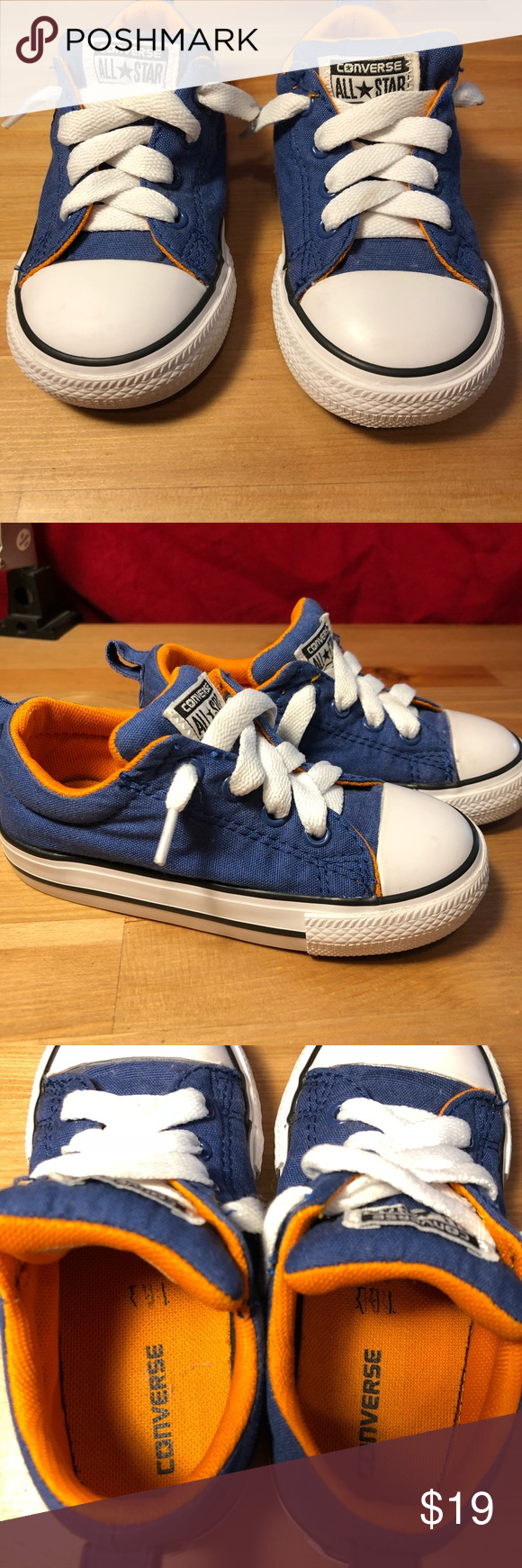 025eaba36227 Boys toddler converse size 8 Blue converse with orange lining and soles In  good condition like new