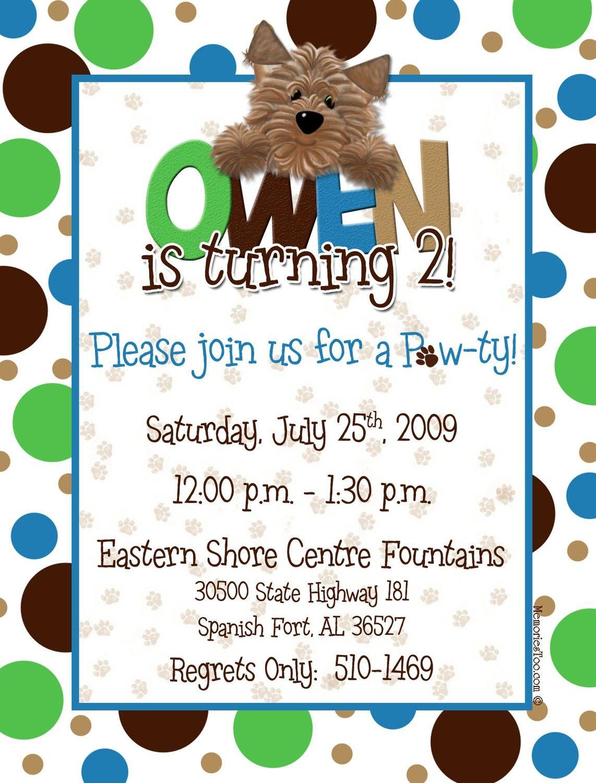 Puppy Dog Theme Birthday Invitation. $15.00, via Etsy. | bday ideas ...
