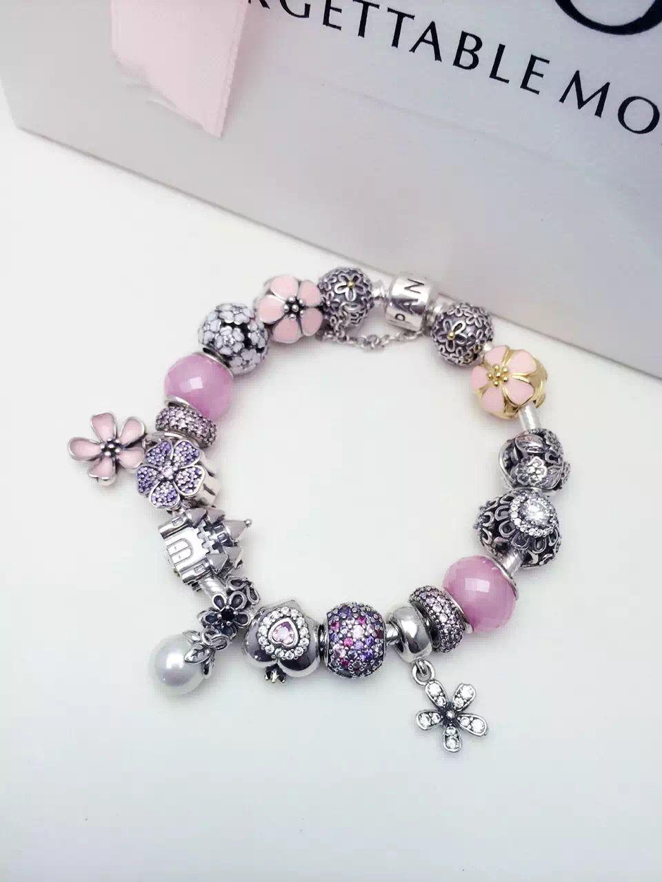50 Off 399 Pandora Charm Bracelet Pink White Purple Hot Sale Sku Cb01657 Pandora Bracelet Ideas Acessorios Joias