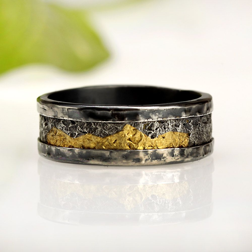 Simple Rustic Mens Wedding Band Mens Wedding Ring Oxidized Silver Commitment Ring mm Band K Gold Ring