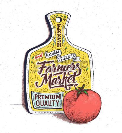 Boerenmarkt belettering op de snijplank Retro vintage motieven citaat poster met de hand belettering Stockfoto