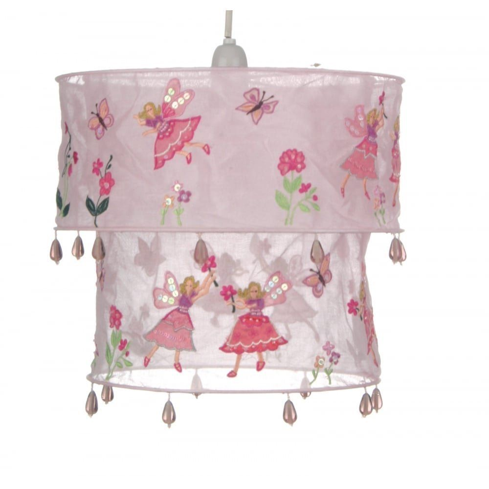 Rosa Lampe mit Feen Motiv Lampenschirm für Deckenleuchte