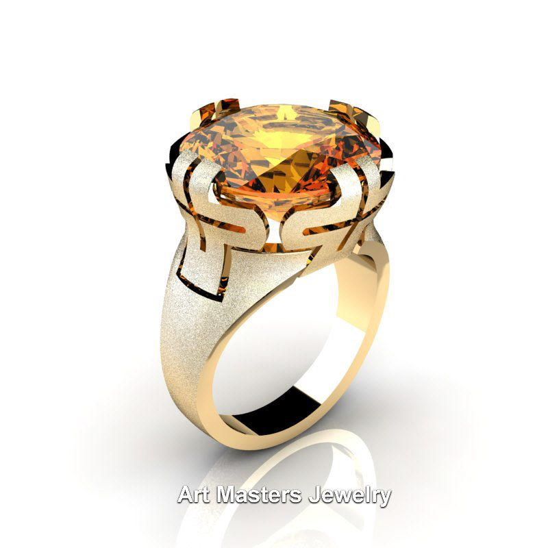 Fabulous Italian K Yellow Gold Ct Yellow Citrine Wedding Cocktail Ring R KYGYC Art