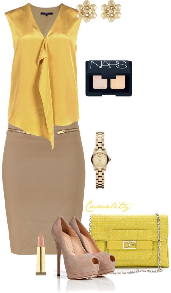 7c001b7179 Satin Mustard Top   Beige Pencil Skirt. Secretária ExecutivaModa ...