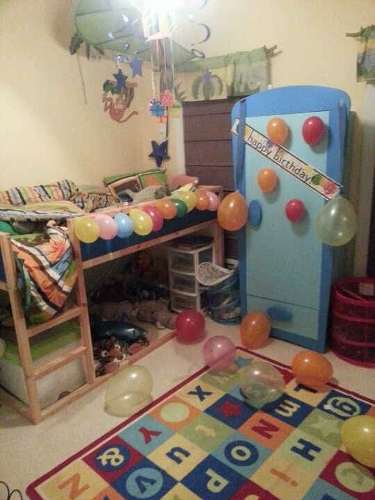 Room decorated for his birthday when he wakes up in the ...