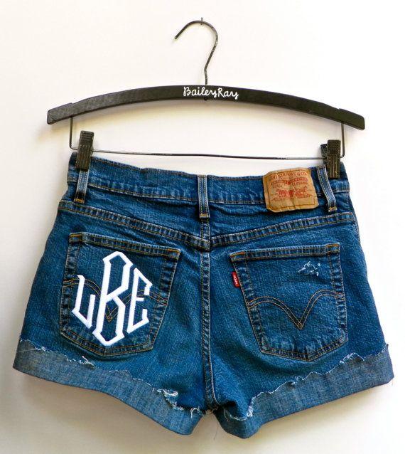 Levi's High Waisted Denim Shorts Monogrammed by BaileyRayDenim, $32.00