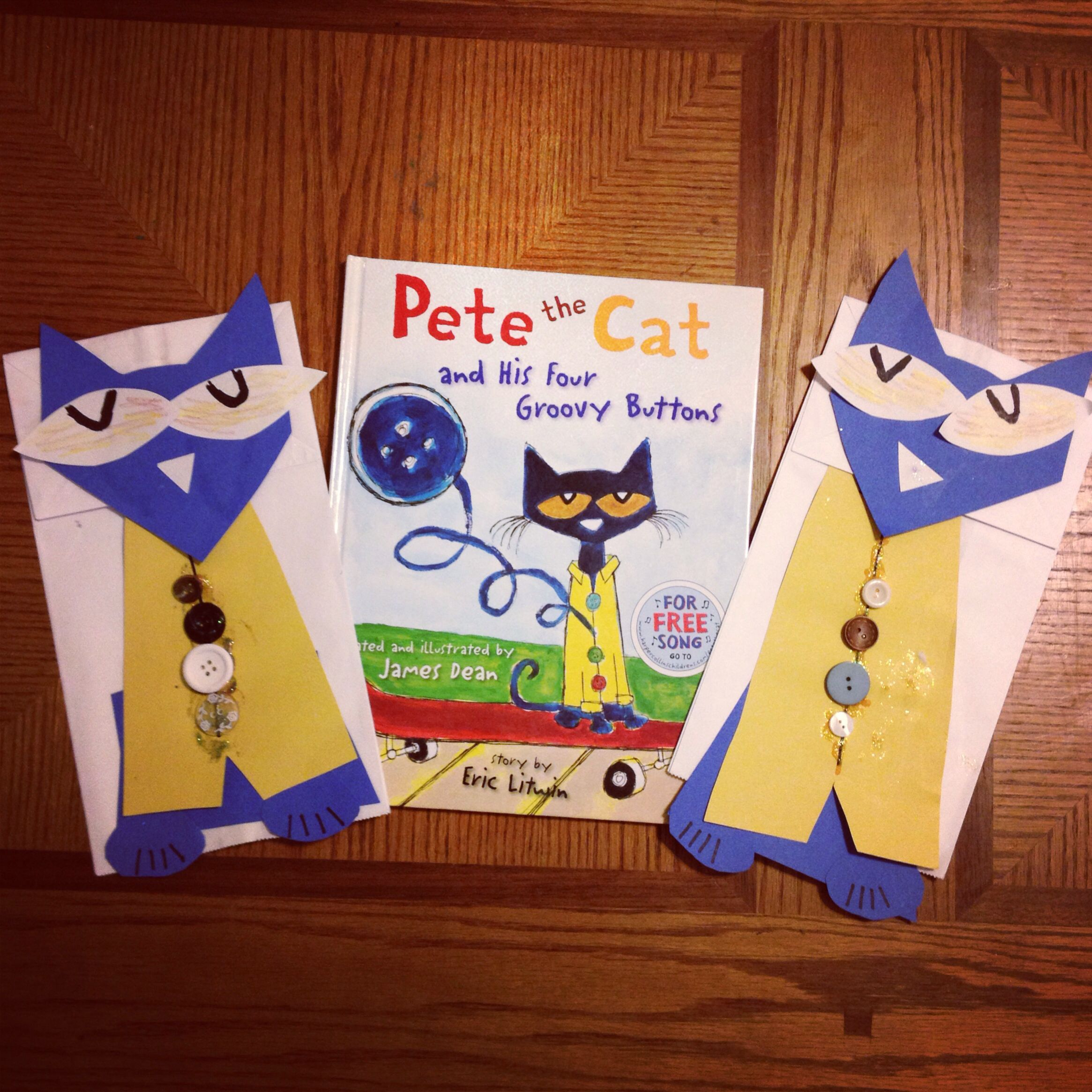 Pete The Cat Paper Bag Puppets To Go Along With Pete The