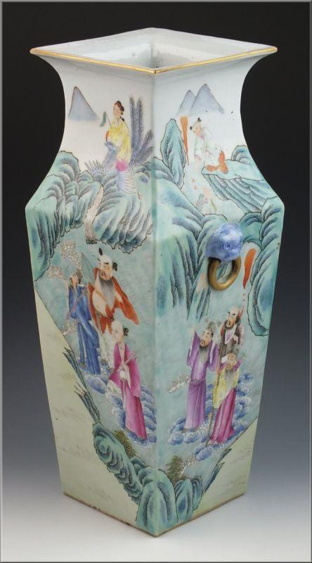 Antique Chinese Qing Dynasty Famille Rose Porcelain Vase W Qianlong