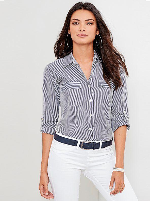 Últimas tendencias muchos estilos comparar el precio Camisa de rayas manga regulable con bolsillos | blusas para ...