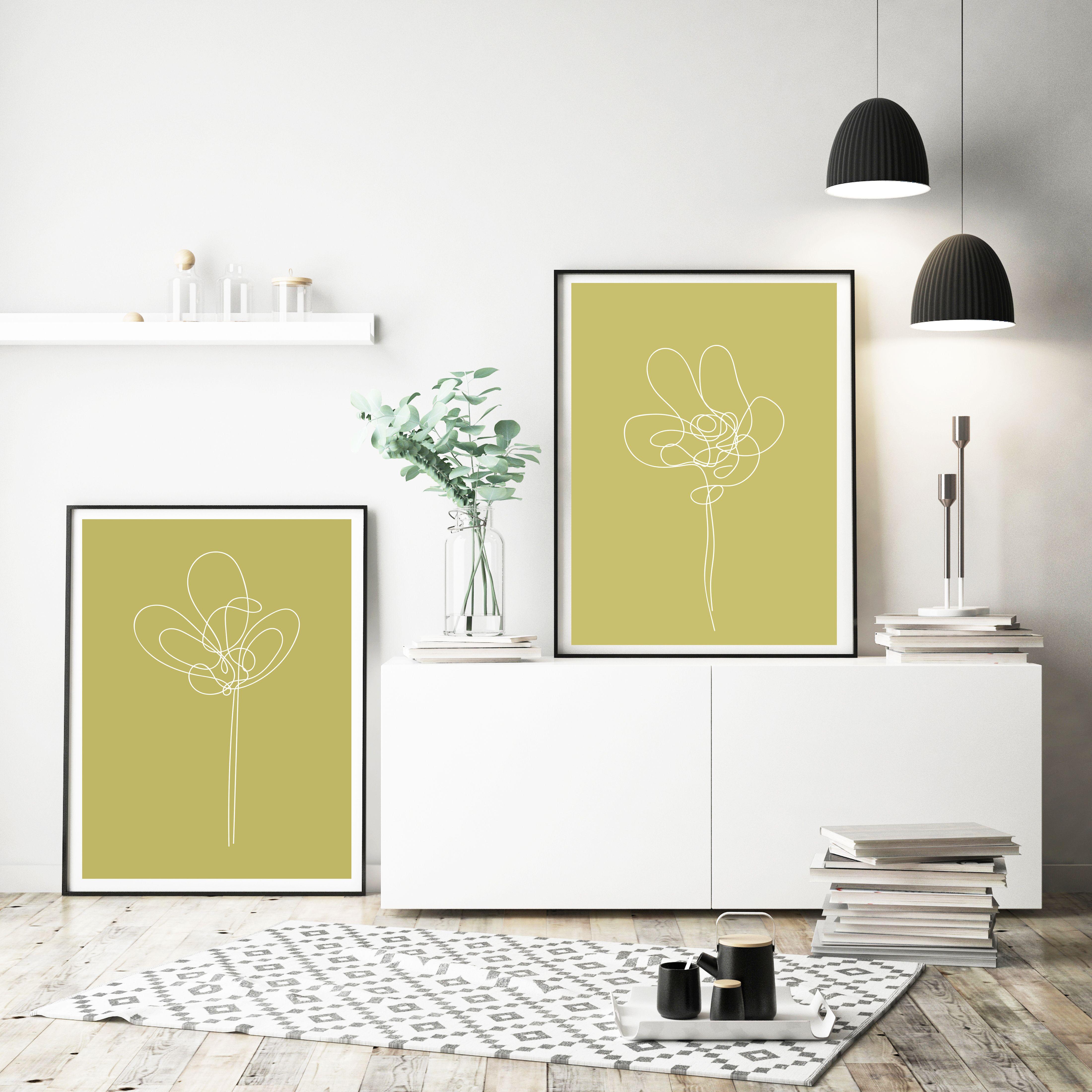 flower line drawing art print set, flower wall art, flower wall ...