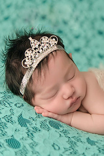 Newborn Girl Princess Headband Rhinestone Crown Hair Band Elastic Headwears
