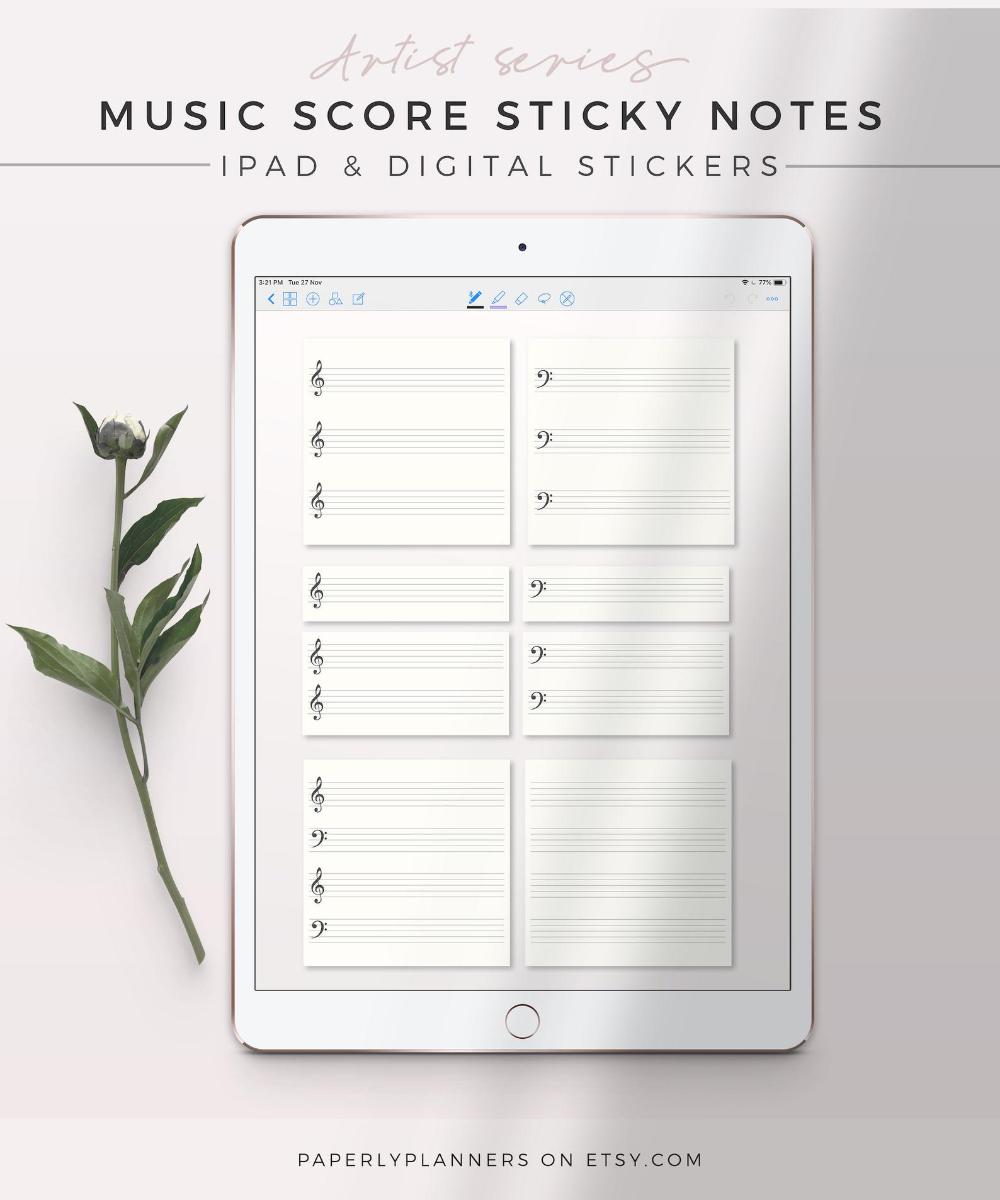 ARTIST Music Score Sticky Notes  iPad Sticky Note Digital | Etsy
