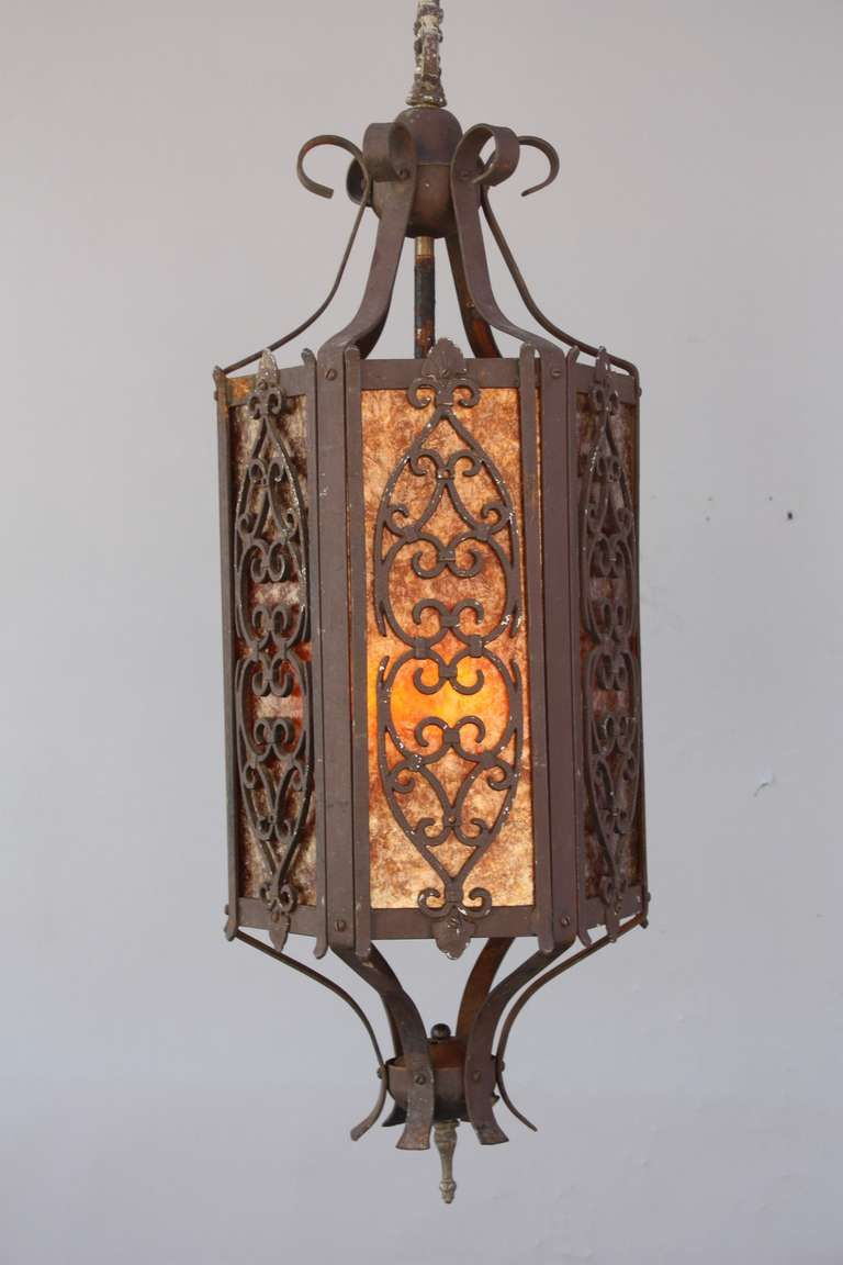 1920s Large Scale Spanish Revival Pendant With Mica From A