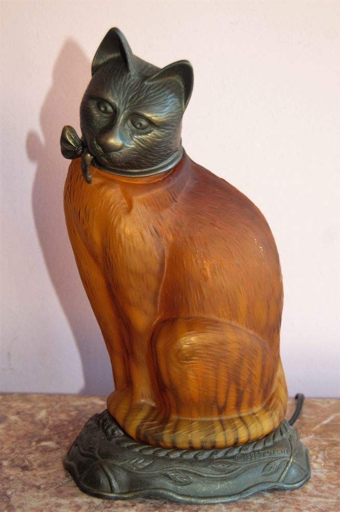 Lamp , Cat, Feline, Kitten, Art Glass, Table, TV, Desk, Lamp TIN CHI 1996 in Collectibles, Lamps, Lighting, Lamps: Electric | eBay