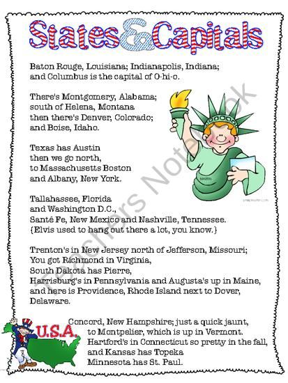 Free States Capitals Song From Living Laughing Loving On Teachersnotebook Com 2 Pages