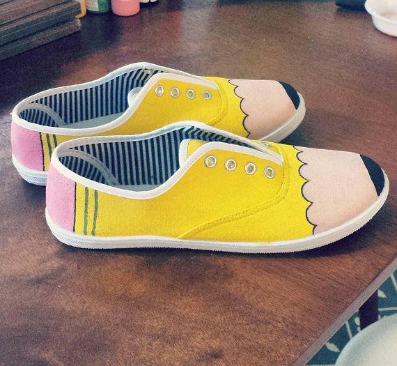 7b98df54057cb Pencil Shoes, Teacher Shoes, Canvas Painted Shoes, Handpainted Shoes ...