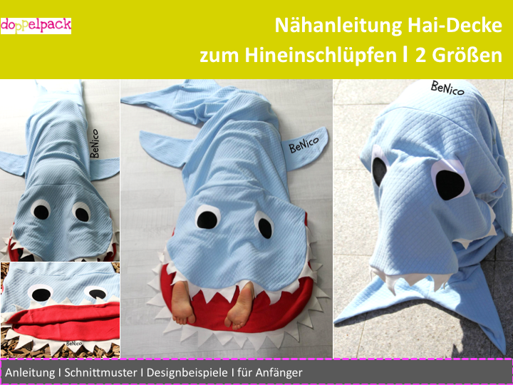 Hai Decke, Haidecke, shark, nähen, Anleitung, Schnittmuster ...