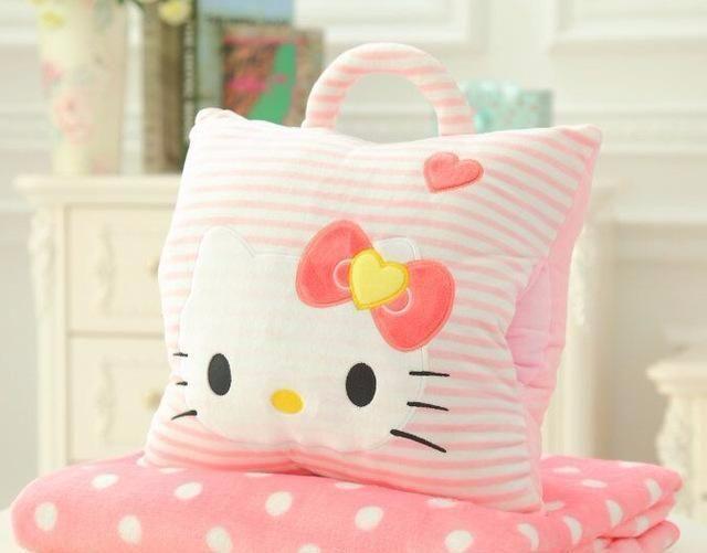Cute Plush Pillow Blanket Hand Warmer Free Shipping Hello Kitty Stripes Plush Pillows Pillows Warm Blankets