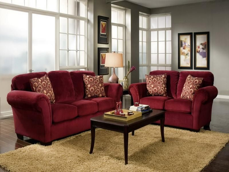 Living Room with Red Sofa | Red Sofa Living Room Pictures of ...