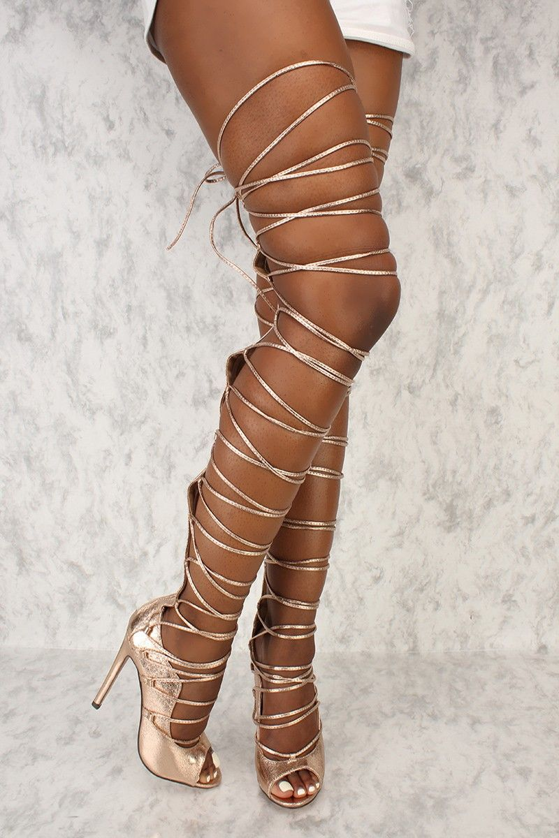 a0a47b6e58fc Sexy Rose Gold Strappy Thigh High Single Sole High Heels Metallic Faux  Leather