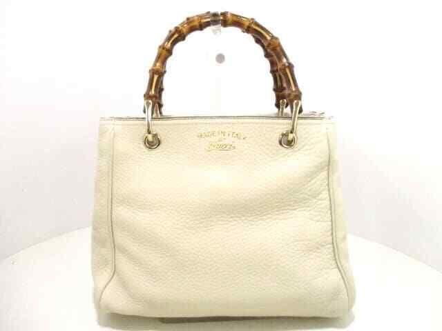 e3e260ae1037 (eBay Ad) Auth GUCCI Ivory Bamboo Shopper Leather Tote Bag 336032 w/ Strap