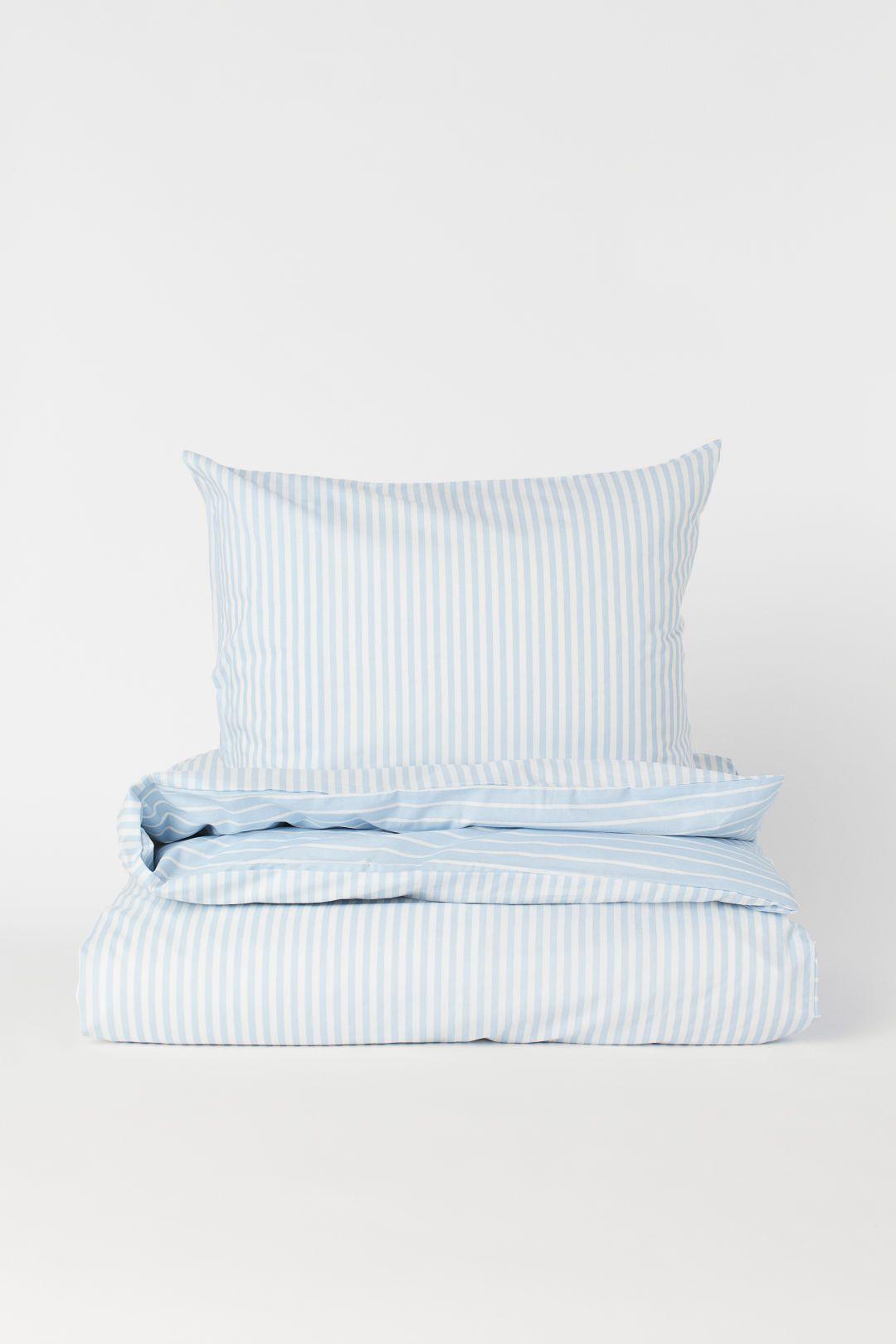 Striped Duvet Cover Set Light Blue White Striped Home All