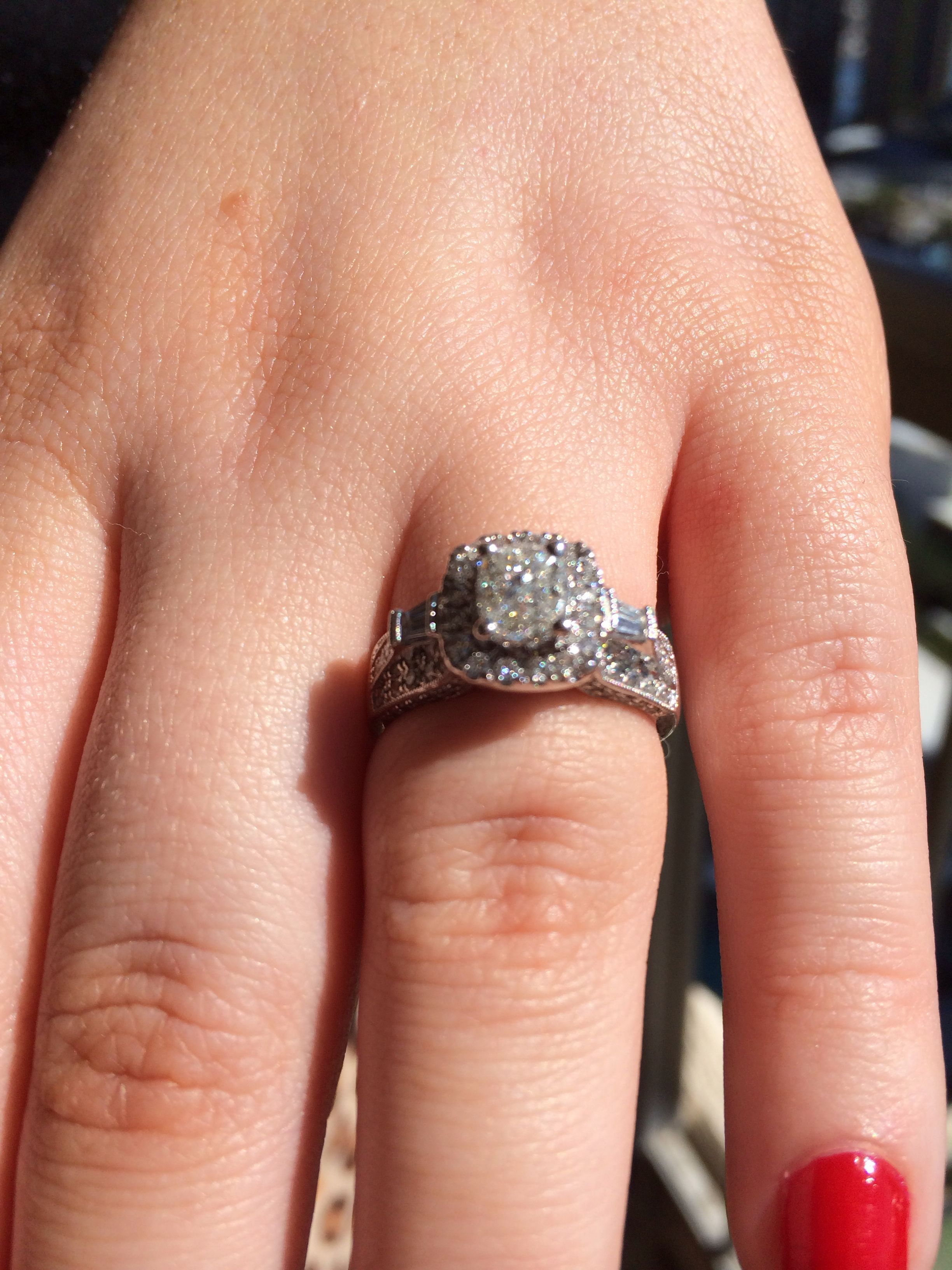 My engagement ring his and her wedding rings my