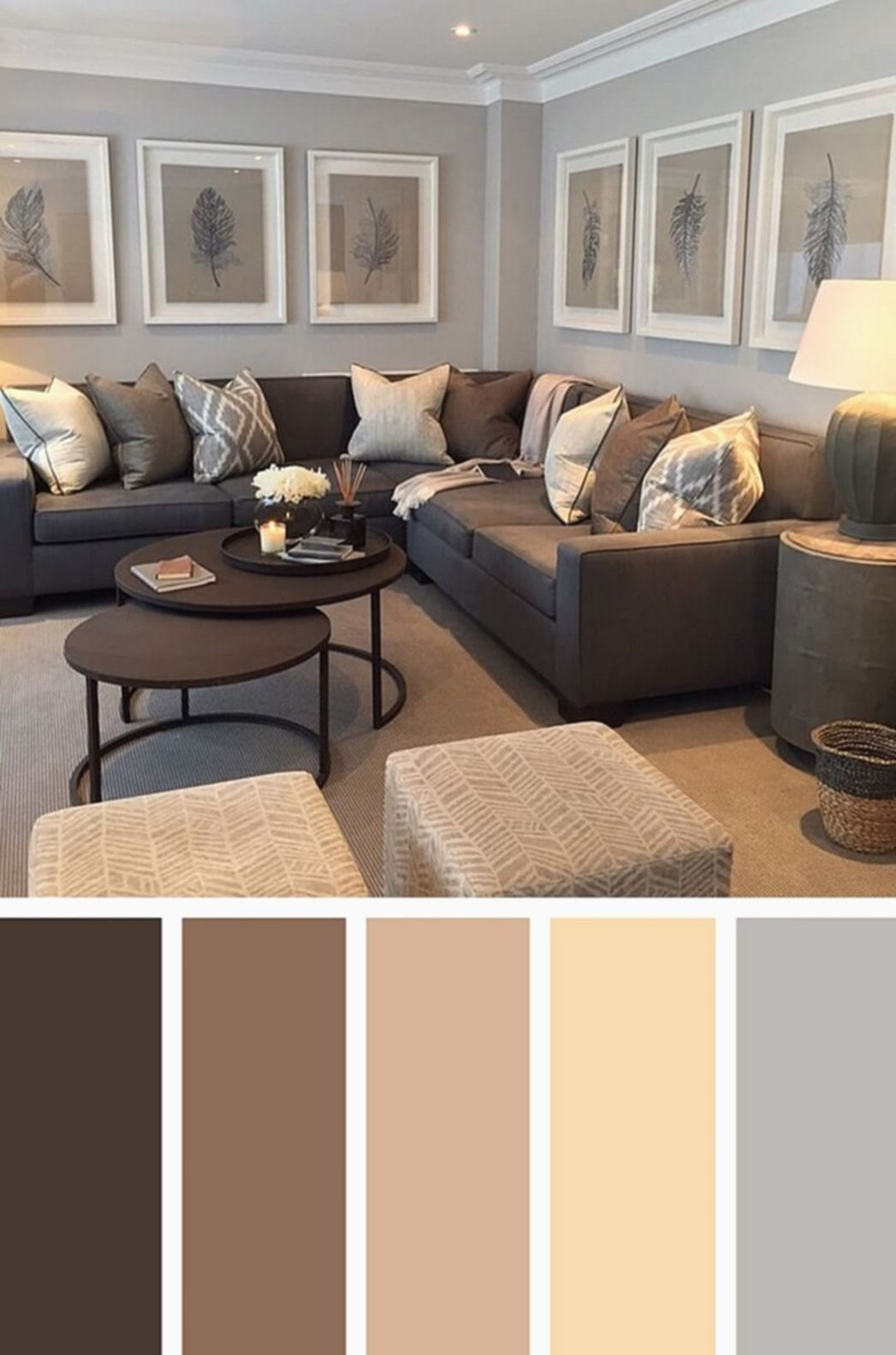 21 inviting living room color design ideas | grey and brown