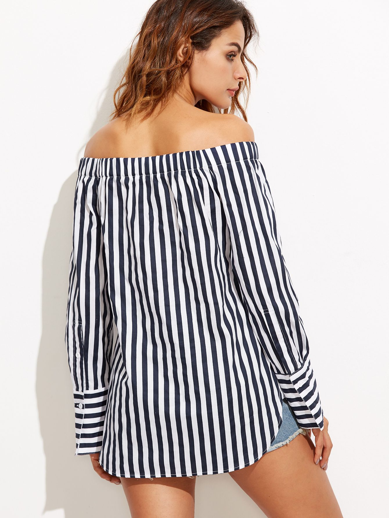808db2b45114 Navy And White Vertical Striped Off The Shoulder Blouse