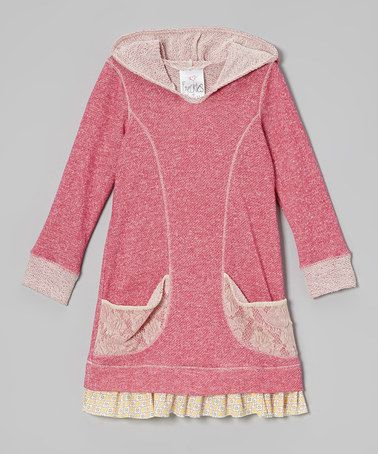 Fuchsia Lace Pocket Hoodie Dress.  I made dresses out of cotton like this…the knit with a hoodie is a great idea and more comfy!