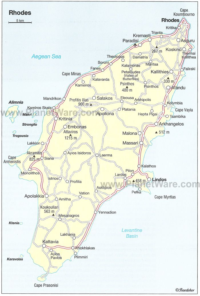 Rhodes Map Tourist Attractions
