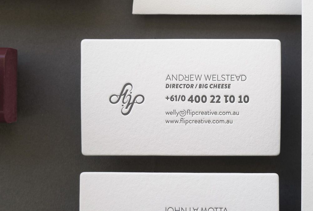 Great Use Of An Ambigram In This Rebrand For Flip I Also Like The Subtle Flip Of The R Clean Business Card Design Business Card Graphic Business Card Design