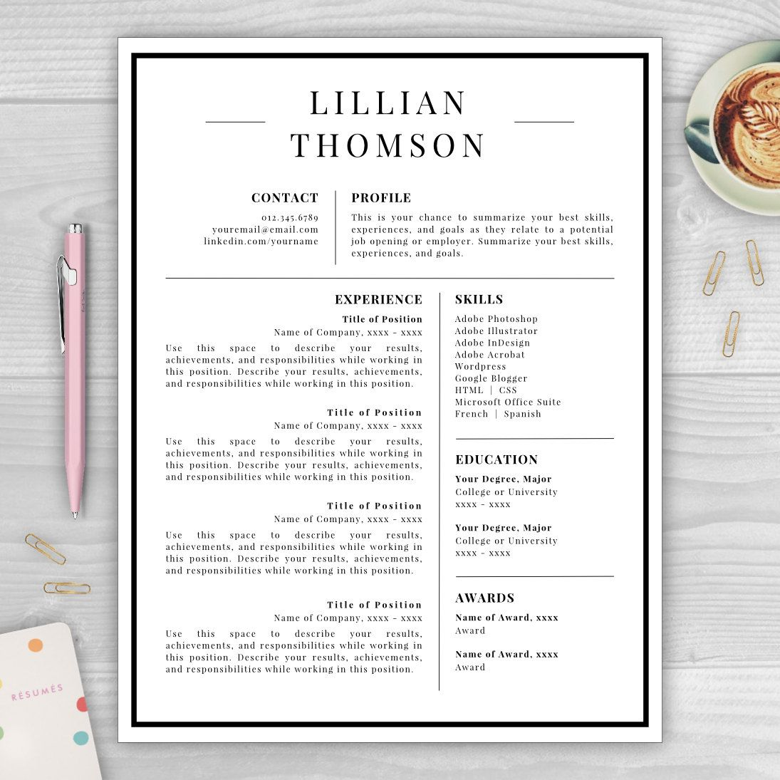 professional resume template for word pages cv template resume template instant download resume template cv template