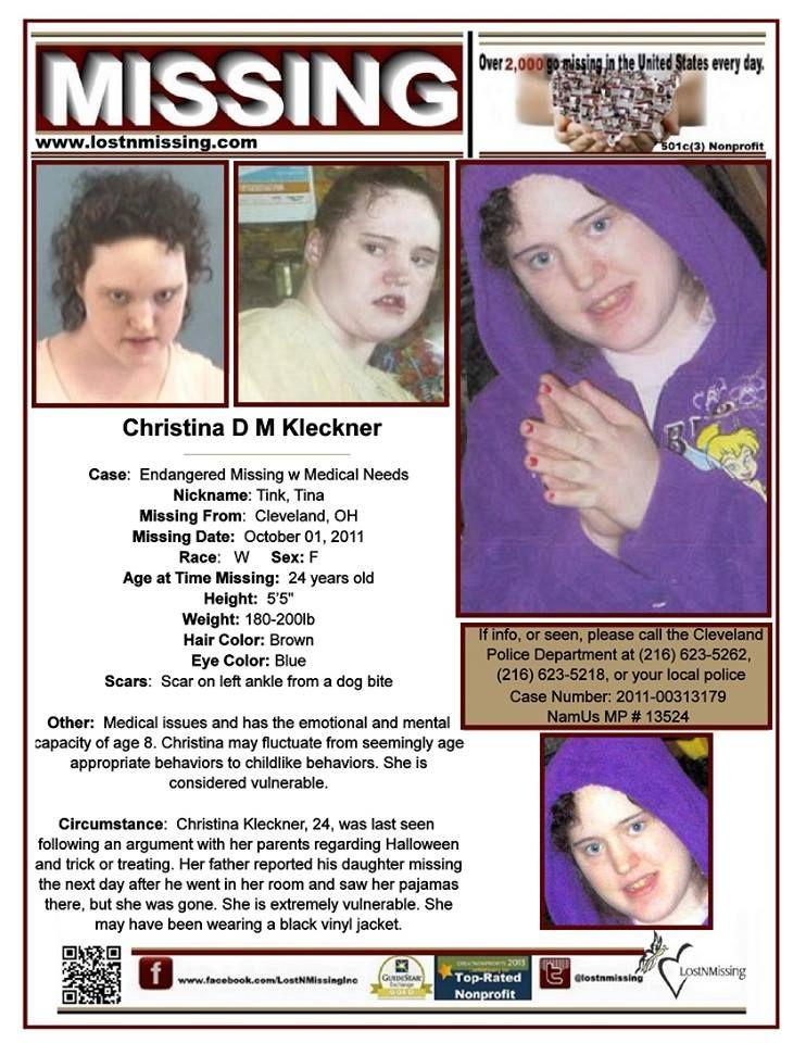 Missing Christina D M Kleckner - missing since October 1