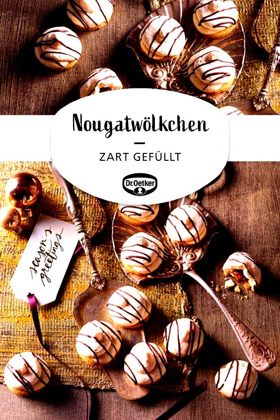 Nougatwölkchen: Zartes Eiweißgebäck mit Nougatfüllung  #adventszeit #keksebacken #teatime