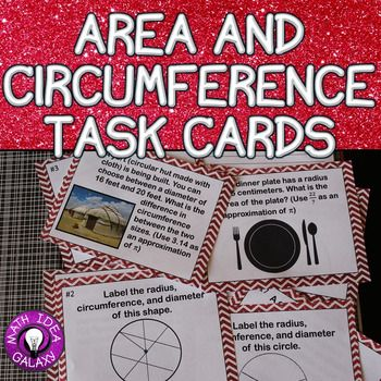 Area And Circumference Task Cards Task Cards Circle Math Parts