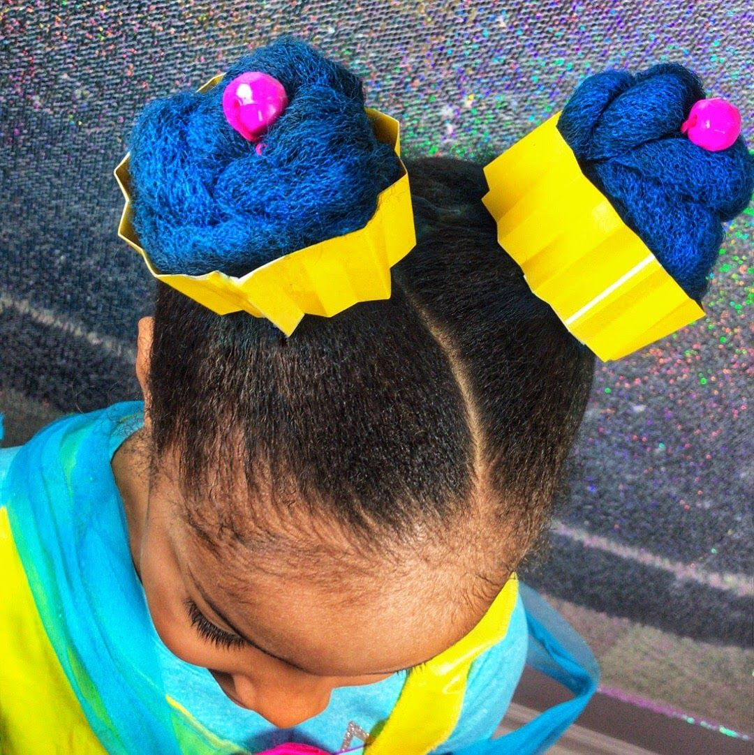 crazy hair day cupcake hairstyle