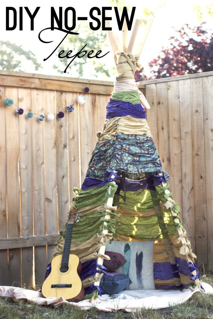 How to Make a No Sew Teepee is part of Diy teepee - Build this no sew teepee that is perfect for forts, reading in the shade outside, or just for some fun imagination play  Make this easy DIY using this tutorial