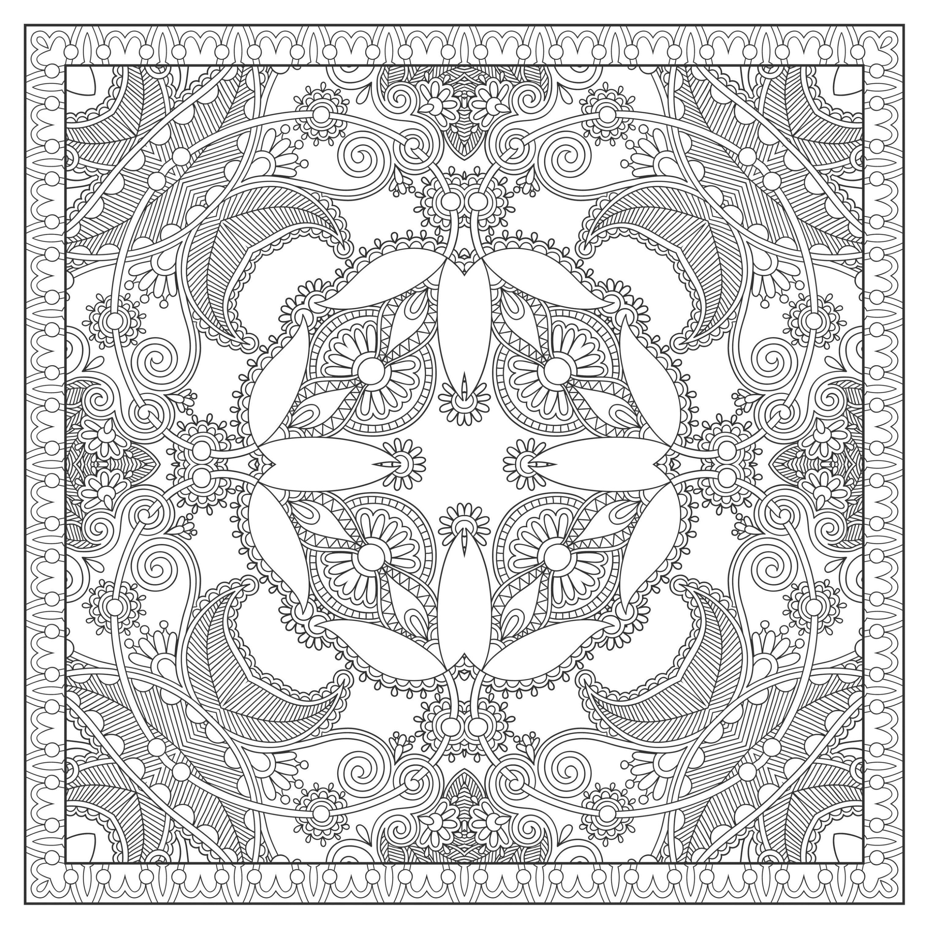 Page de Mandalas gratuits coloriage mandala plexe carre par karakotsya