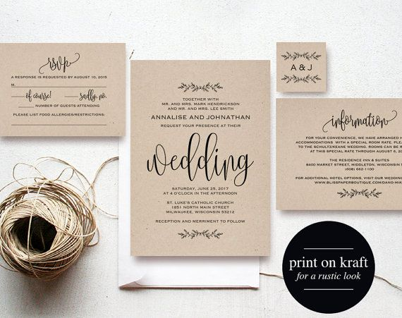 Kraft Wedding Invitation Printable, Rustic Invitation Set, Wedding - formal invitation template
