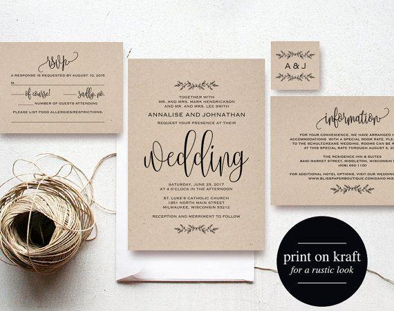 Kraft Wedding Invitation Printable Rustic Invitation Set Wedding