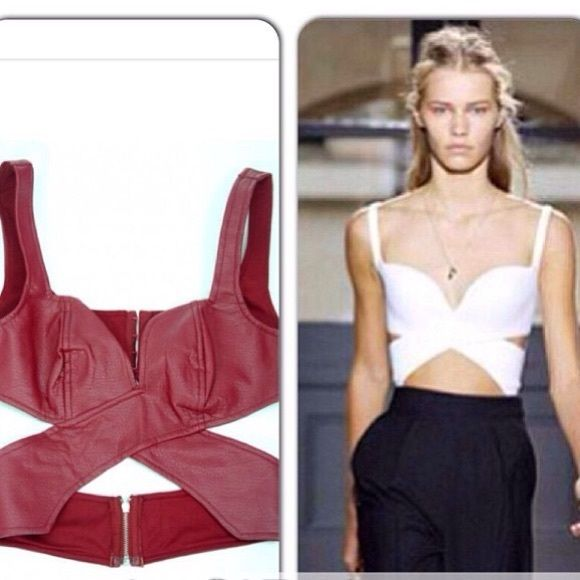 Red pleather top n w tags small Red pleather top n w tags Tops Crop Tops